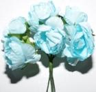 Букет роза бумажная бол.голубая(12шт в уп)