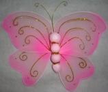 Бабочка ткань 22см розовая