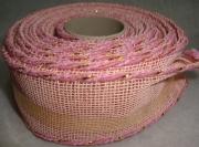 Лента сетка с каркасом 4см/5м розовая